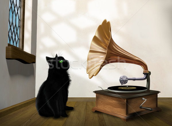 Stok fotoğraf: Kedi · gramofon · örnek · bakıyor · eski
