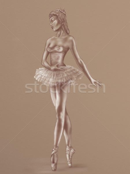 Stok fotoğraf: Balerin · kroki · orijinal · zarif · dans · bacaklar
