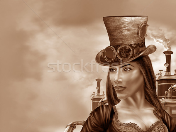 Steampunk femme illustration industrielle motif fille Photo stock © paulfleet