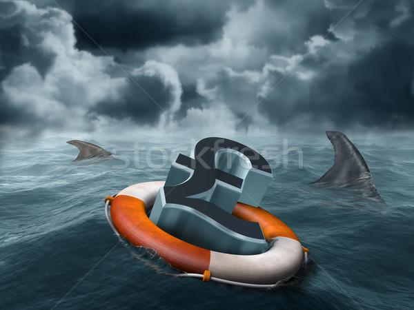 Kwetsbaar pond illustratie business helpen storm Stockfoto © paulfleet
