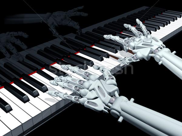 Számítógép zene illusztráció robot játszik hangversenyzongora Stock fotó © paulfleet