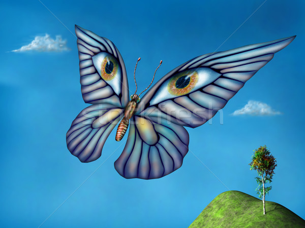 Surreale farfalla stilizzato battenti sopra verde Foto d'archivio © paulfleet