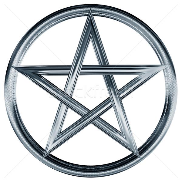 Silver pentagram Stock photo © paulfleet