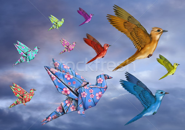 Origami Bird Dreamscape Stock photo © paulfleet