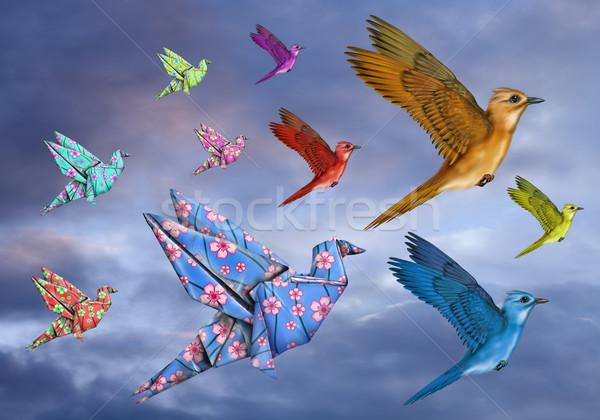 Origami vogel gestileerde vogels vliegen hemel Stockfoto © paulfleet