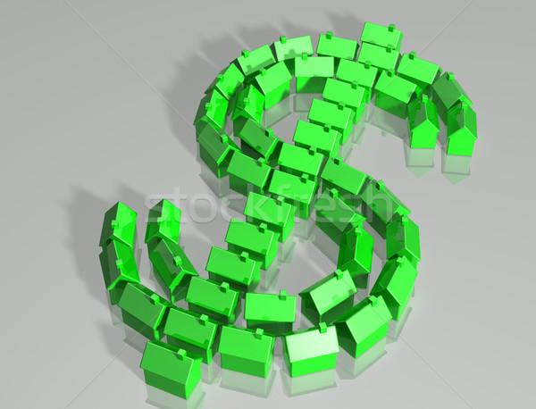Dollar symbool geïllustreerd klein huizen Stockfoto © paulfleet