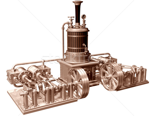 Four cylinder steam engine and boiler Stock photo © paulfleet