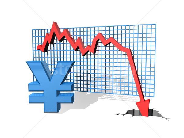 Caer yen gráfico valor financiar Foto stock © paulfleet