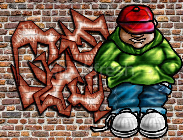 Graffitis art mur illustration vieux mur de briques Photo stock © paulfleet