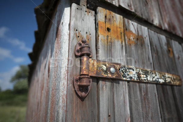 Eski paslı menteşe Stok fotoğraf © paulfleet
