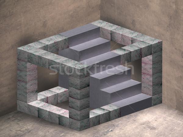 不可能 階段 実例 幾何学的な 階段 神秘的な ストックフォト © paulfleet