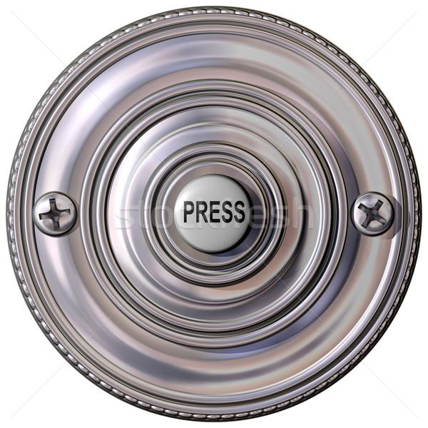 Sonnette isolé illustration anneau bouton objet Photo stock © paulfleet