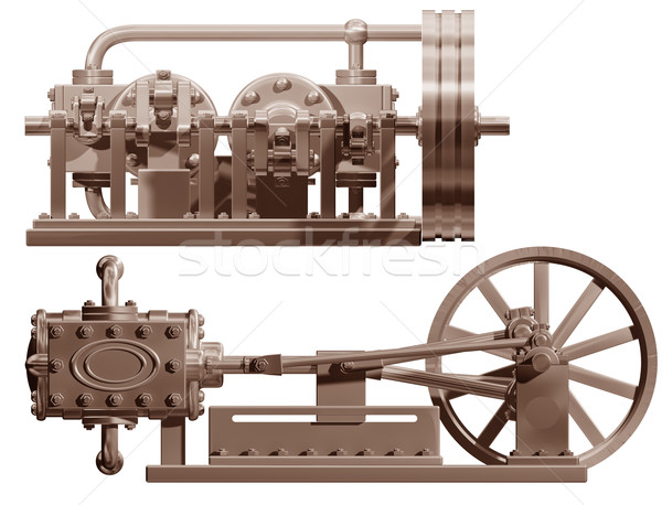 Steam engine front and side Stock photo © paulfleet