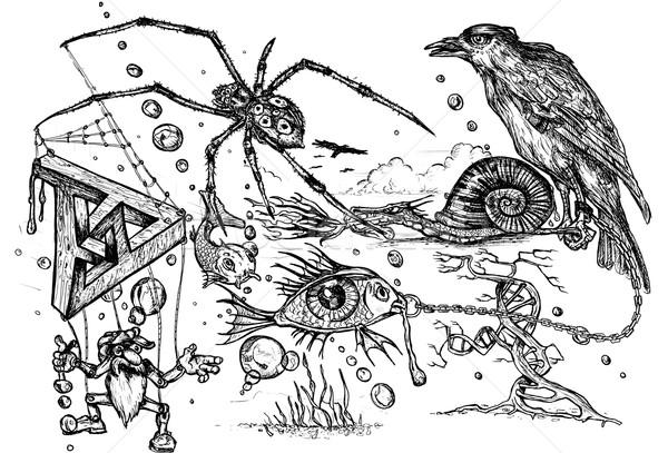 非現実的な いたずら書き ペン インク 図面 ストックフォト © paulfleet