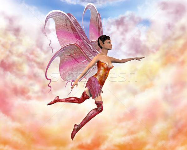 Fadas ilustração voador pastel nuvens laranja Foto stock © paulfleet