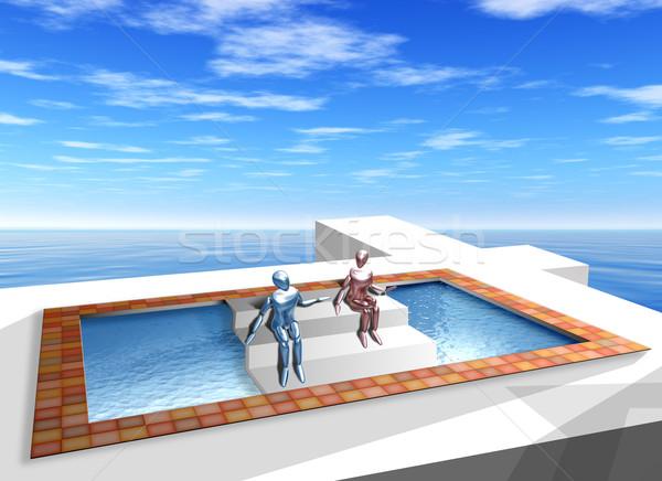 Onmogelijk zwembad origineel illustratie meetkundig Stockfoto © paulfleet