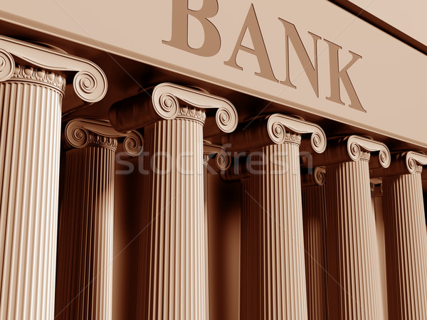 Bank illustratie traditioneel klassiek kolommen geld Stockfoto © paulfleet