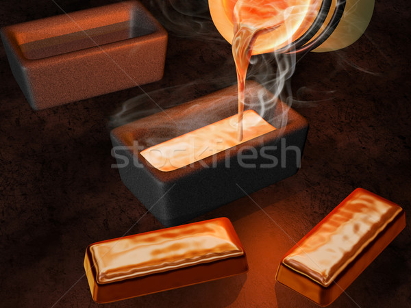 Gold ingot casting Stock photo © paulfleet