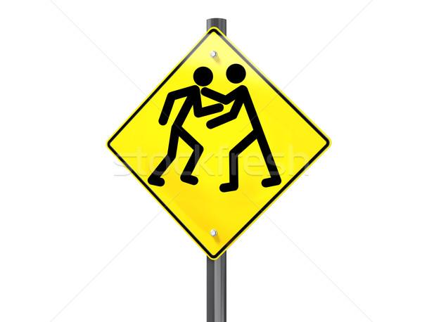 Drogowego wściekłość ilustracja znak drogowy podpisania walki Zdjęcia stock © paulfleet