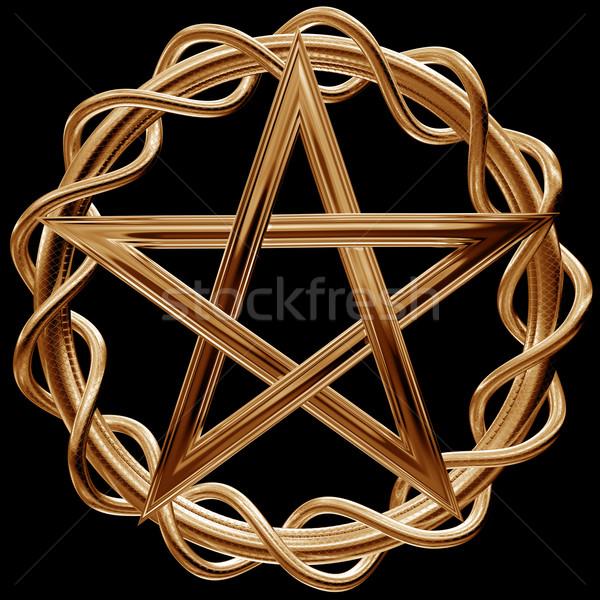 Arany illusztráció díszes arany fém csillag Stock fotó © paulfleet