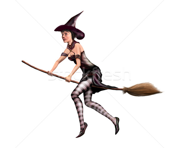 Isolated witch on a broomstick Stock photo © paulfleet