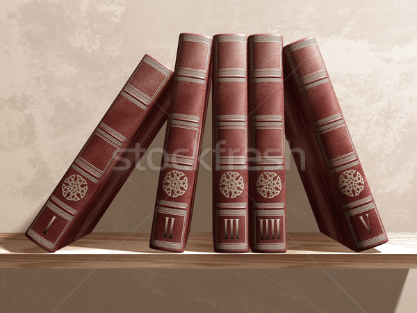 Stock photo: Books on a shelf