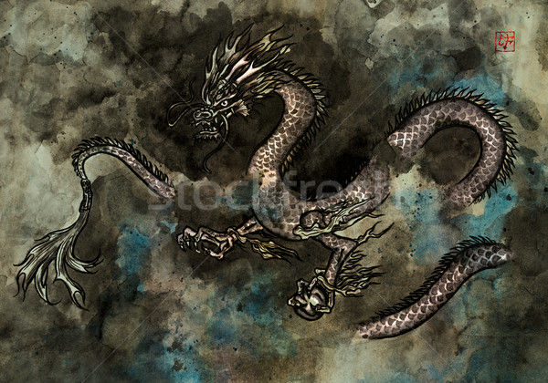 Encre peinture dragon traditionnel féroce dragon chinois Photo stock © paulfleet