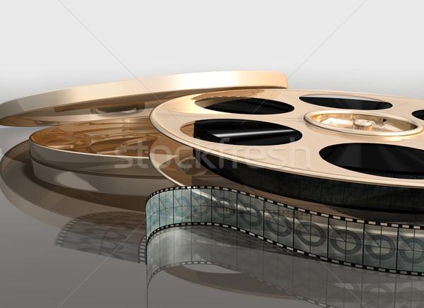 кино Film Reel иллюстрация металл лента тень Сток-фото © paulfleet
