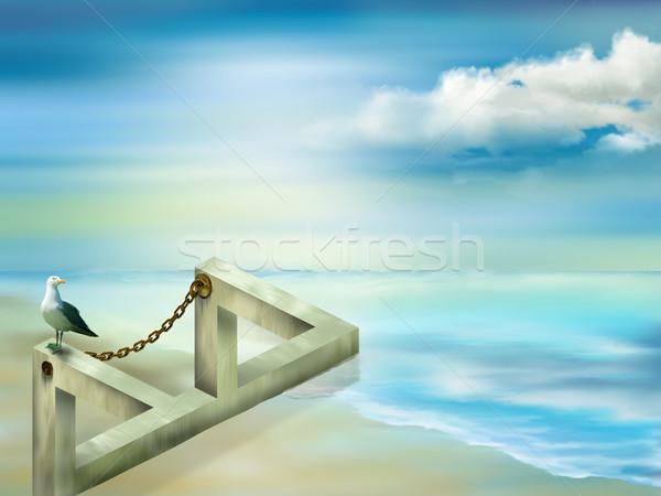 невозможное структуры иллюстрация искусства птица синий Сток-фото © paulfleet