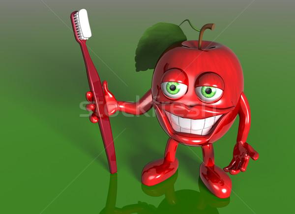 Mela grande grin illustrazione cartoon mela rossa Foto d'archivio © paulfleet
