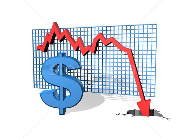 Foto stock: Queda · dólar · gráfico · valor · financiar