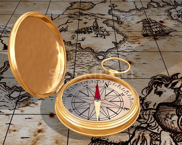 Old compass on map Stock photo © paulfleet