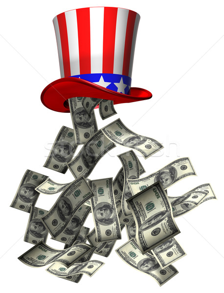 Overheid geld geïsoleerd illustratie bankbiljetten vallen Stockfoto © paulfleet