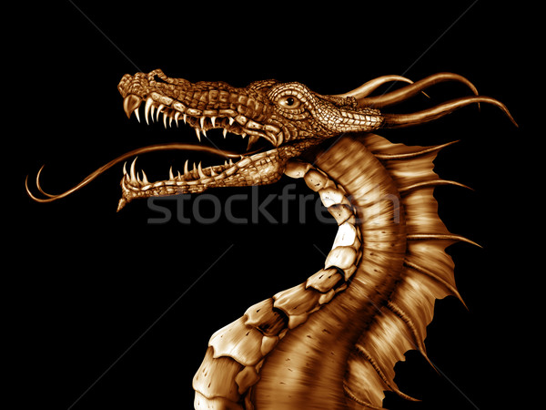 Or dragon illustration noir dents rêve Photo stock © paulfleet