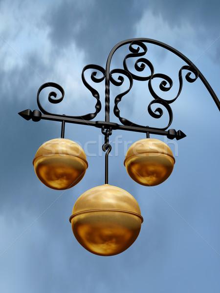 Compras assinar três dourado céu Foto stock © paulfleet