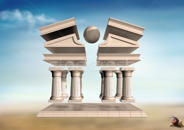 сюрреалистичный греческий храма оригинальный иллюстрация бесплодный Сток-фото © paulfleet