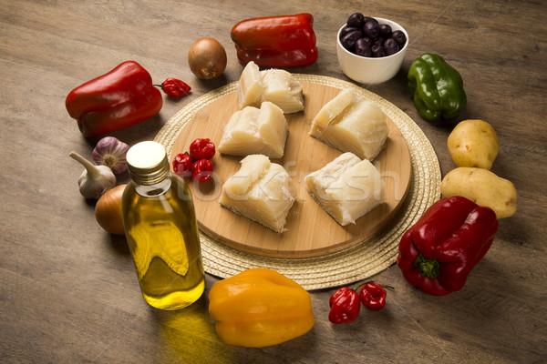 Tavolo in legno ingredienti pesce greggio alimentare Foto d'archivio © paulovilela