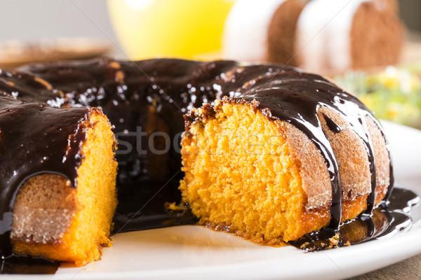 Bolo de cenoura chocolate fatia tabela textura bolo Foto stock © paulovilela