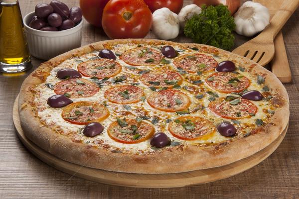 Tradicional italiano pizza ingredientes alimentos Foto stock © paulovilela