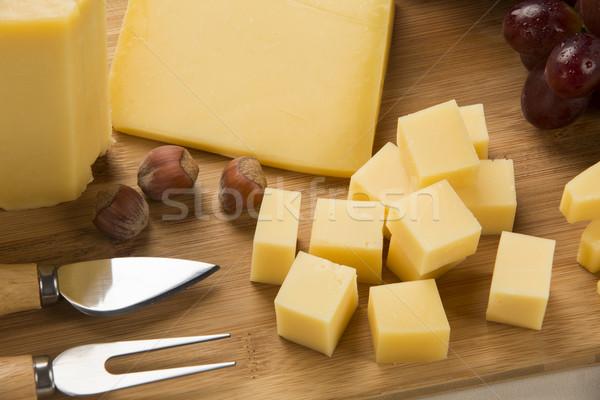 Tagliere alimentare sfondo blu Foto d'archivio © paulovilela