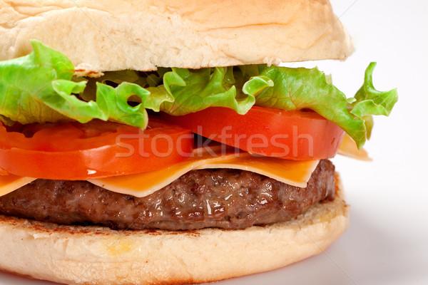 Cheeseburger branco comida verde queijo sanduíche Foto stock © paulovilela