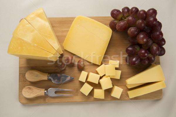 Parmesan peyniri lezzetli gıda arka plan mavi Stok fotoğraf © paulovilela