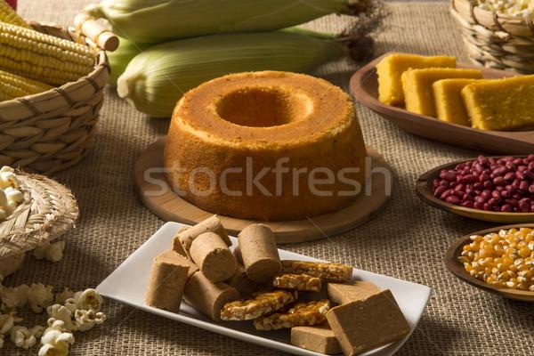 Tabeli ciasto popcorn ziemniaczanej festiwalu dekoracji Zdjęcia stock © paulovilela