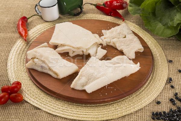 Pelle greggio carne di maiale legno grasso bianco Foto d'archivio © paulovilela