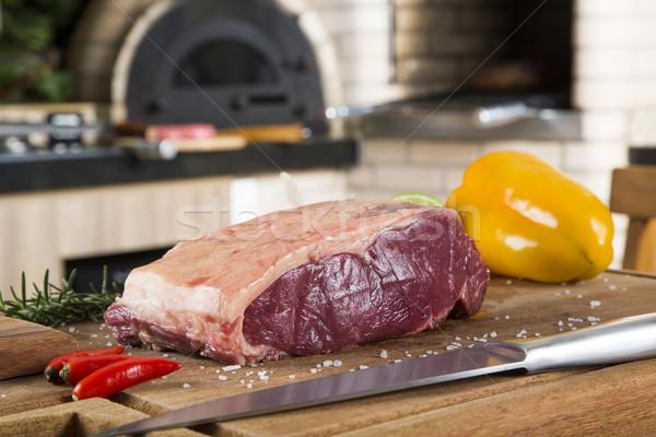 Organisch Rood ruw biefstuk lendenen Stockfoto © paulovilela