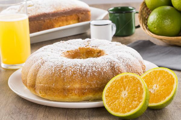Narancs torta asztal gyümölcsök dzsúz háttér Stock fotó © paulovilela