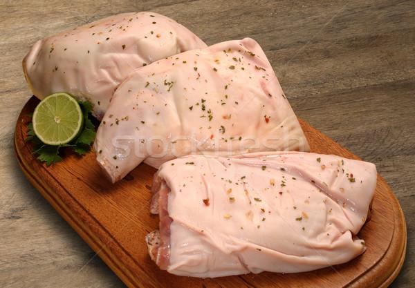 Carne di maiale erbe legno sfondo cena carne Foto d'archivio © paulovilela