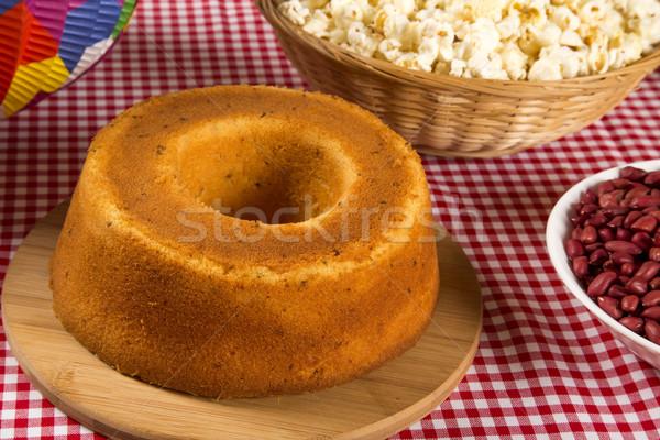 Hagyományos torta étel háttér reggeli fehér Stock fotó © paulovilela