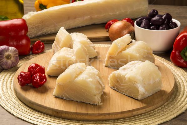 Gezouten houten tafel ingrediënten vis ruw voedsel Stockfoto © paulovilela