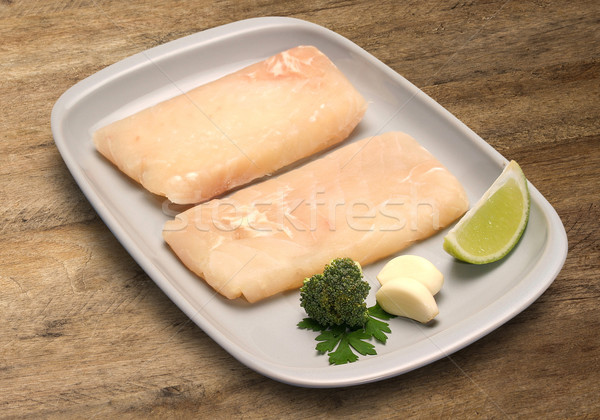 raw fish on wooden background. Jau fish Stock photo © paulovilela